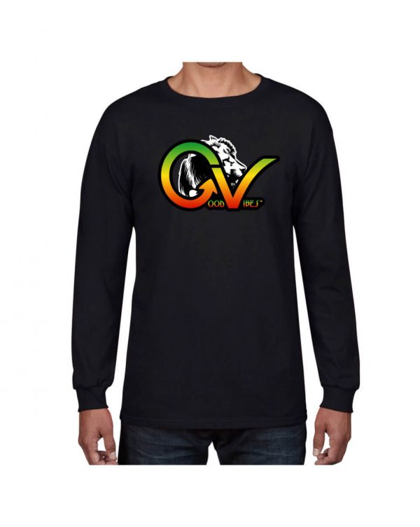 Good Vibes Rastafarian White Lion GV Black Long Sleeve T-shirt