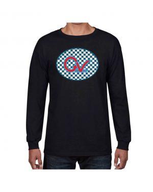 Good Vibes Blue Red Checkered Black Long Sleeve T-shirt