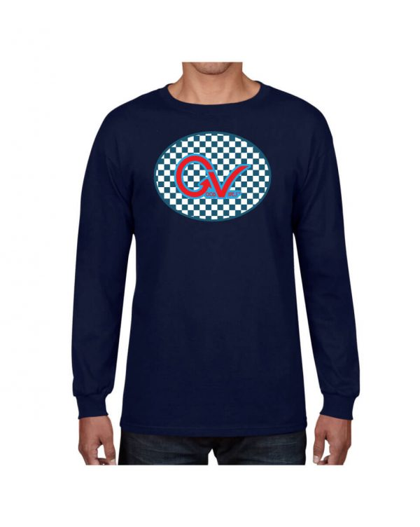 Good Vibes Blue Red Checkered Navy Long Sleeve Tshirt