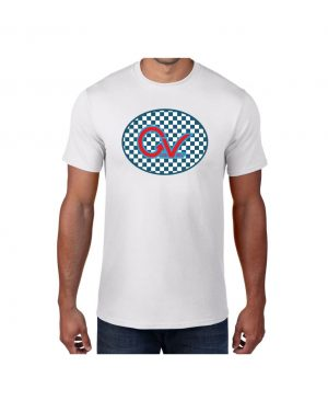 Good Vibes Blue Red Checkered White T-shirt