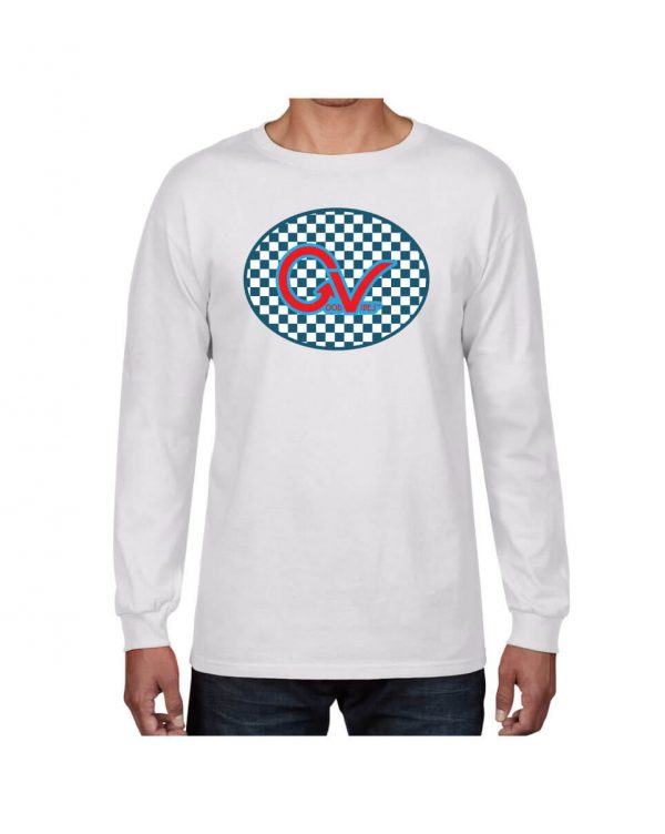 Good Vibes Blue Red Checkered White Long Sleeve Tshirt