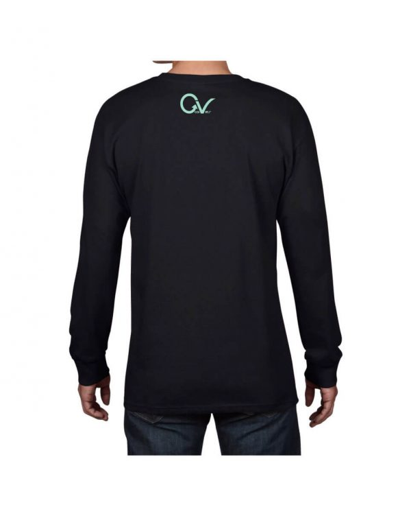Teal Good Vibes Black Long Sleeve T-shirt