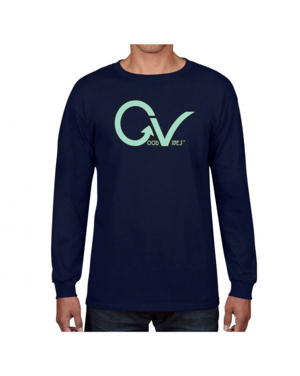 Teal Good Vibes Navy Long Sleeve T-shirt