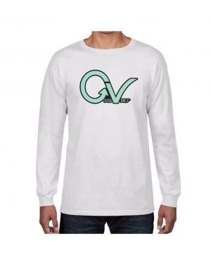 Teal Good Vibes White Long Sleeve T-shirt