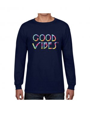 Good Vibes Tie Dye Navy Long Sleeve T-shirt