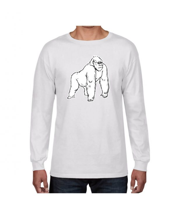 Good Vibes White Gorilla White Long Sleeve Tshirt