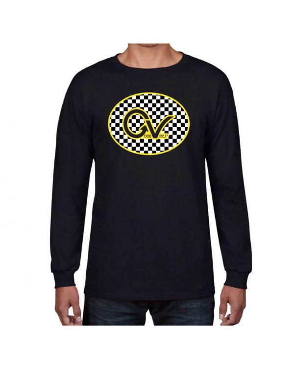 Good Vibes Yellow Checker GV Black Long Sleeve T-shirt