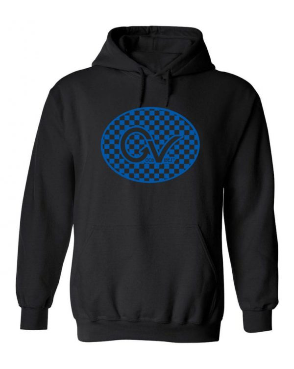 Good Vibes™ Men's Blue Checker Hoodie. This is a Heavyweight Hoodie 50% cotton and 50% Polyester with Front pouch pocket