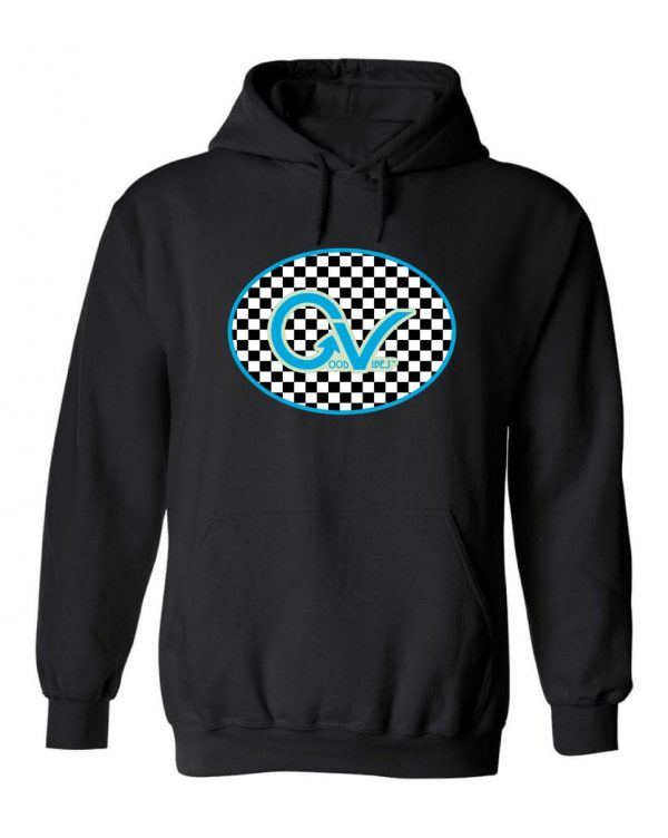 Good Vibes™ Unisex Blue Checker Hoodie. This is a Heavyweight Hoodie 50% cotton and 50% Polyester with Front pouch pocketck Hoodie