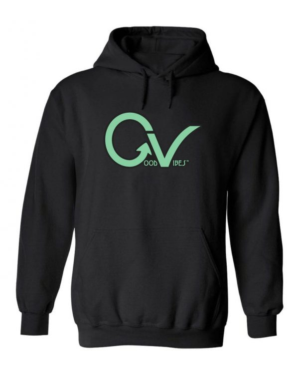 Good Vibes™ Unisex Green Logo Hoodie. This is a Heavyweight Hoodie 50% cotton and 50% Polyester with Front pouch pocket