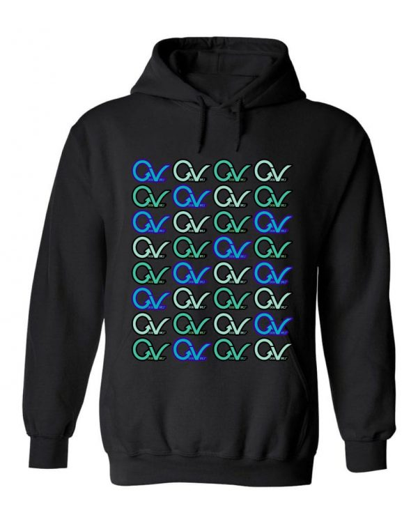 Good Vibes™ Men's Multi GV Pattern Hoodie. This is a Heavyweight Hoodie 50% cotton and 50% Polyester with Front pouch pocket
