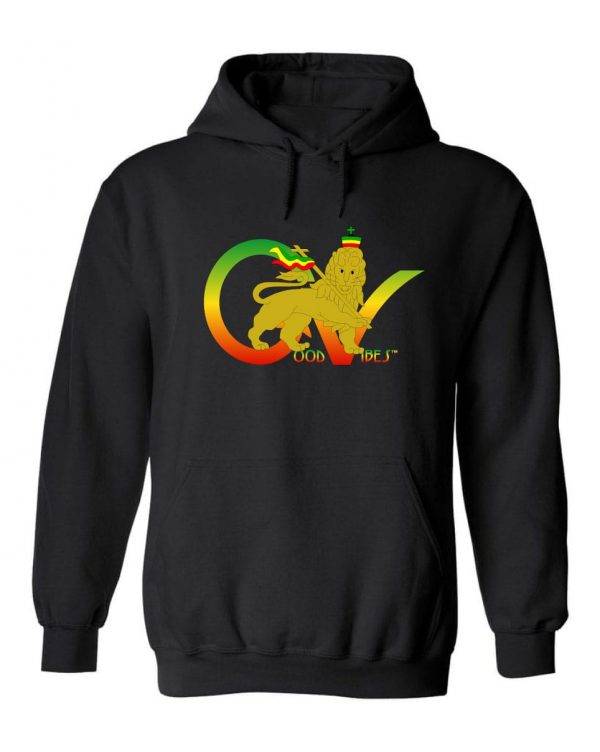 Good Vibes™ Men's Rasta Lion GV Hoodie. This is a Heavyweight Hoodie 50% cotton and 50% Polyester with Front pouch pocket