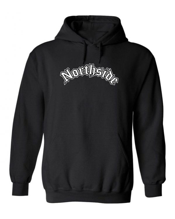 Men's Northside Map Hoodie. This is a Heavyweight Hoodie 50% cotton and 50% Polyester with Front pouch pocket