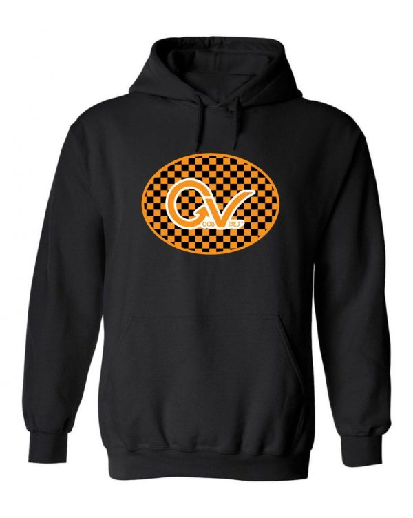 Good Vibes™ Unisex Orange Checker Hoodie. This is a Heavyweight Hoodie 50% cotton and 50% Polyester with Front pouch pocket