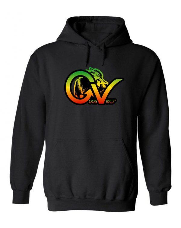Good Vibes Rastafarian Lion GV Black Hoodie