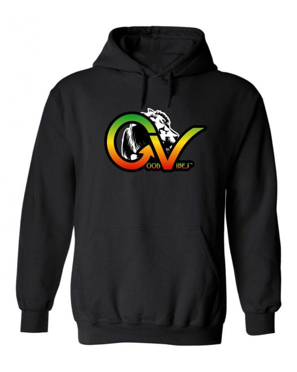 Good Vibes™ Rasta White Lion Men's Hoodie Heavyweight 50% cotton and 50% Polyester with Front pouch pocket