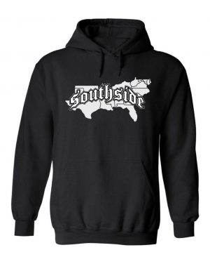 Unisex Southside Map Hoodie. This is a Heavyweight Hoodie 50% cotton and 50% Polyester with Front pouch pocket