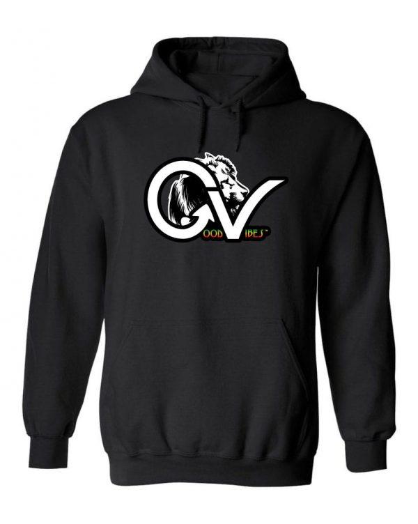 Good Vibes Rasta White Lion Logo Black Hoodie