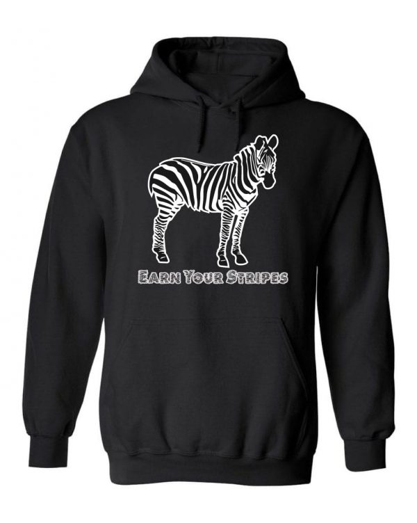 Good Vibes™ Men's Earn Your Stripes Hoodie. This is a Heavyweight Hoodie 50% cotton and 50% Polyester with Front pouch pocket