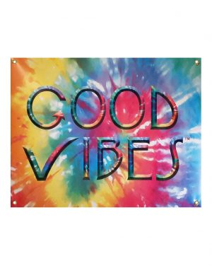 "Good Vibes Tie Dye Vinyl Banner with grommet holes for hanging. Size: 30"" x 5'. Made to order from ggsgraphics.com today!"