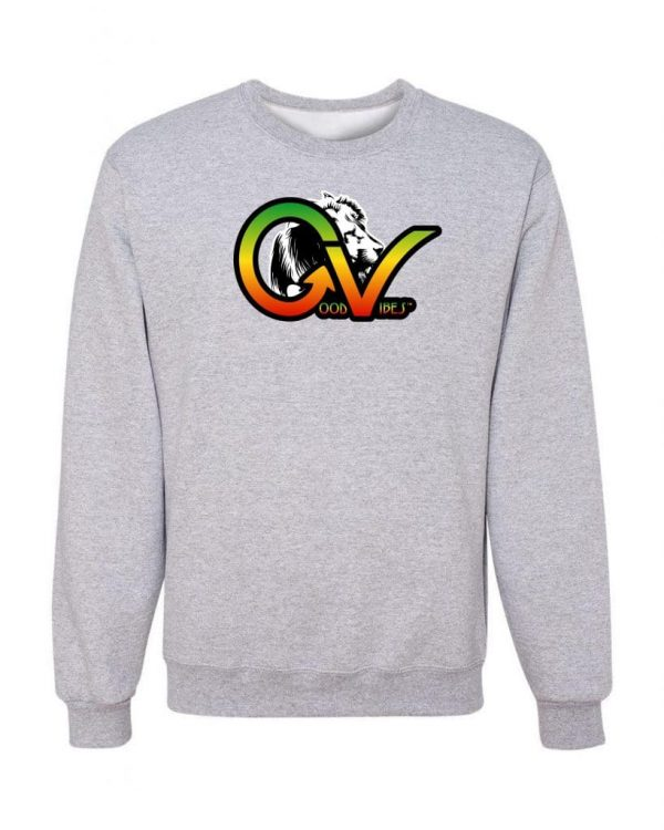 Good Vibes Rastafarian White Lion GV Gray Sweatshirt