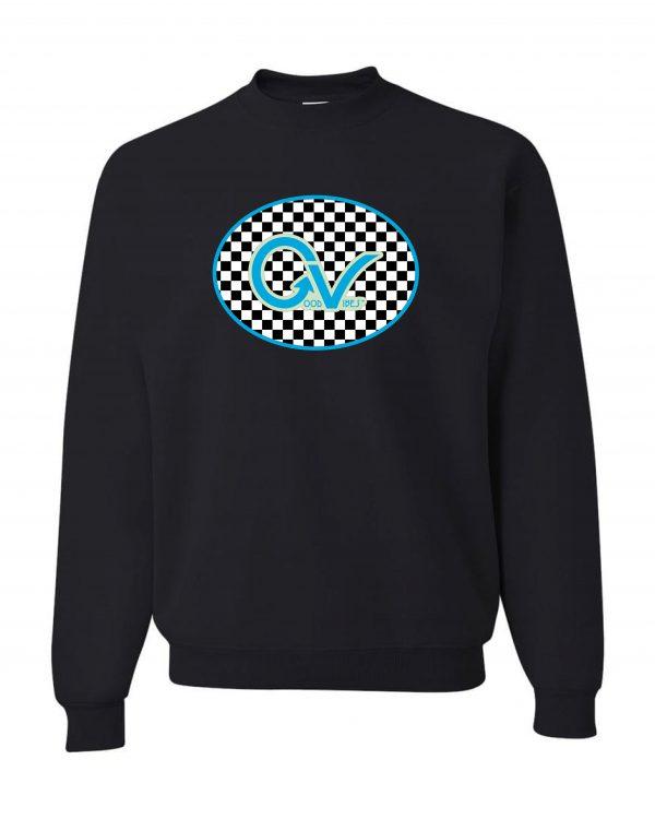 Good Vibes Blue Light Green Checker Black Sweatshirt