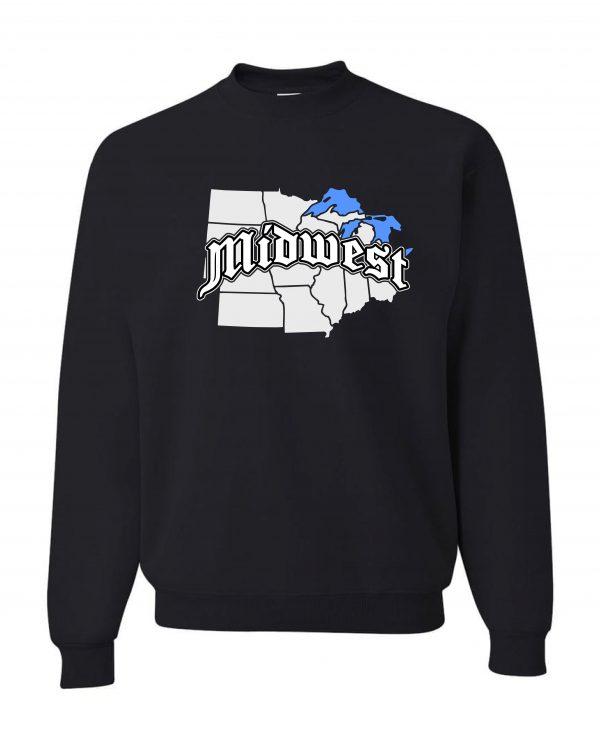 Good Vibes Midwest Map Black Sweatshirt
