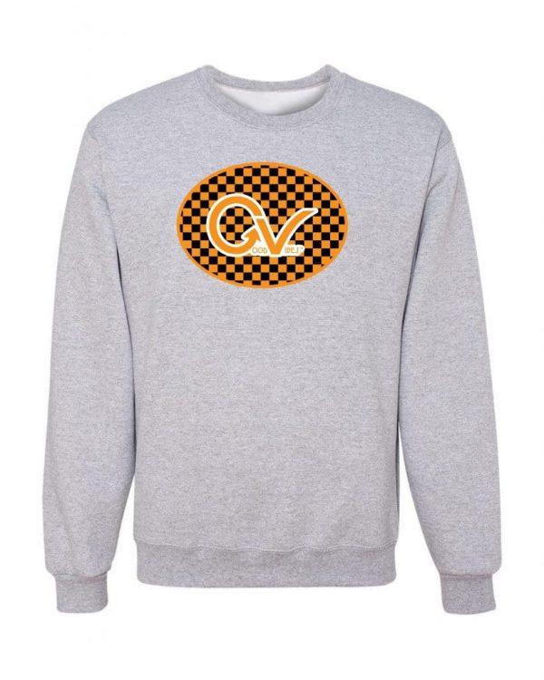 Good Vibes Orange Checker Logo Gray Sweatshirt