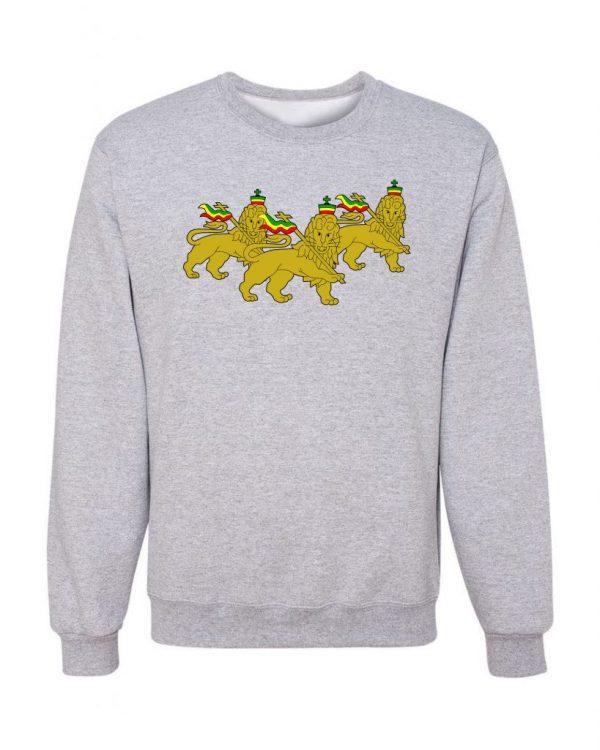 Good Vibes 3 Lions Rastafarian Gray Sweatshirt