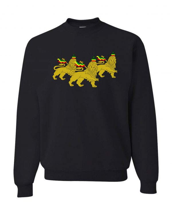 Good Vibes 3 Lions Rastafarian Black Sweatshirt