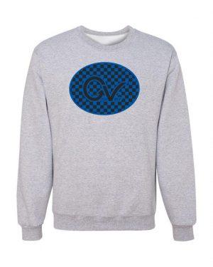 Good Vibes Blue Black Checker Gray Sweatshirt