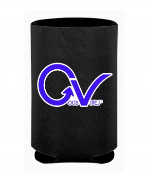 Good Vibes Black Collapsable Polyurethane Foam Can Koozie, Can Coozie in 2 colors with Blue GV on both sides