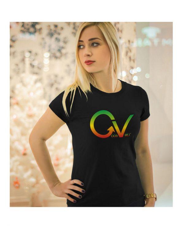 Good Vibes Rastafarian GV Black Womens T-shirt