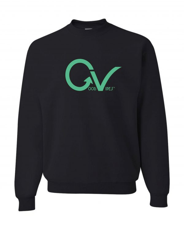 Good Vibes Green GV Logo Black Sweatshirt