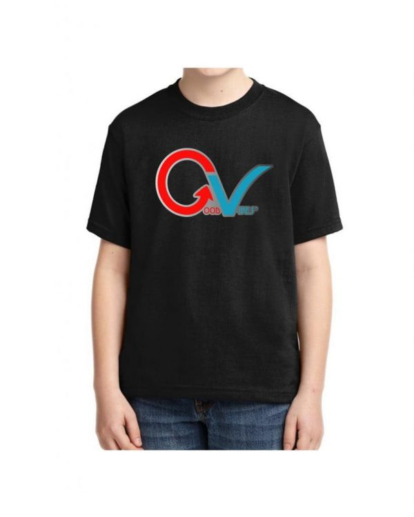 Kids Good Vibes Multi Color GV Logo Black Kids T-shirt