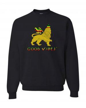 Good Vibes Rastafarian Lion Black Sweatshirt