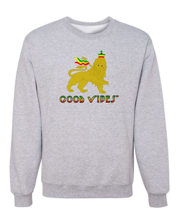 Good Vibes Rastafarian Lion Gray Sweatshirt