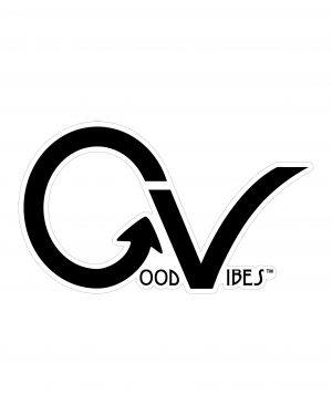 "Good Vibes Black White Border GV Sticker for Indoor or Outdoor Use 3.45"" x 2"""