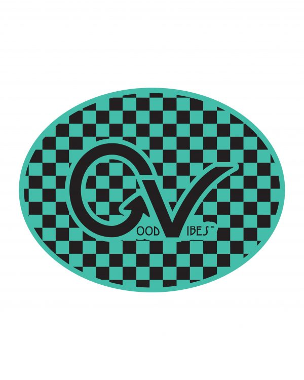 Good Vibes Black and Teal Checker Sticker for Indoor or Outdoor Use 4