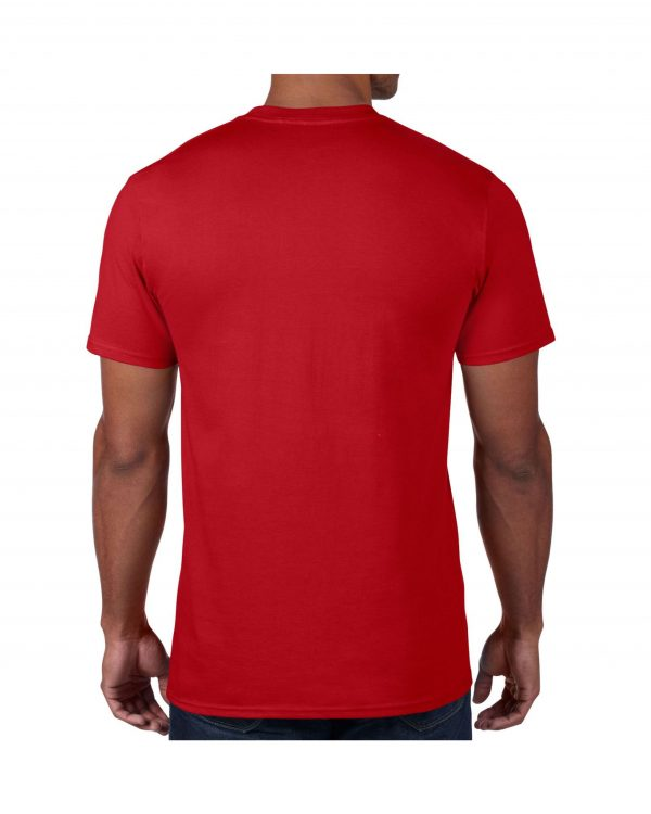 Men's Red Plain T shirts with no decoration. 5.4 oz 100% Combed Ring-Spun Cotton. (Available in 6 Colors) Made to order from ggsgraphics.com today!
