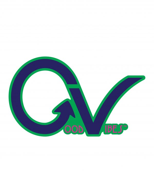 Good Vibes Blue Pink Green Border GV Sticker for Indoor or Outdoor Use 3.45