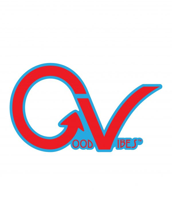 "Good Vibes Blue Red Border GV Sticker for Indoor or Outdoor Use 3.45"" x 2"""
