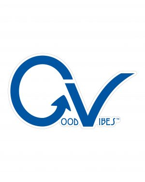 "Good Vibes Blue GV Sticker for Indoor or Outdoor Use 3.45"" x 2"""