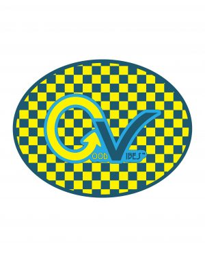 "Checker Yellow Good Vibes Blue Yellow Checker Sticker for Indoor or Outdoor Use 4"" x 3"""