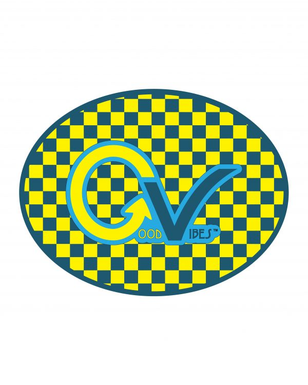 Checker Yellow Good Vibes Blue Yellow Checker Sticker for Indoor or Outdoor Use 4