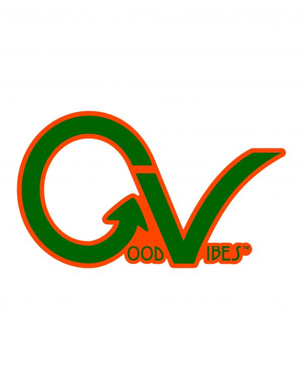"Good Vibes Green Orange GV Sticker for Indoor or Outdoor Use 3.45"" x 2"""