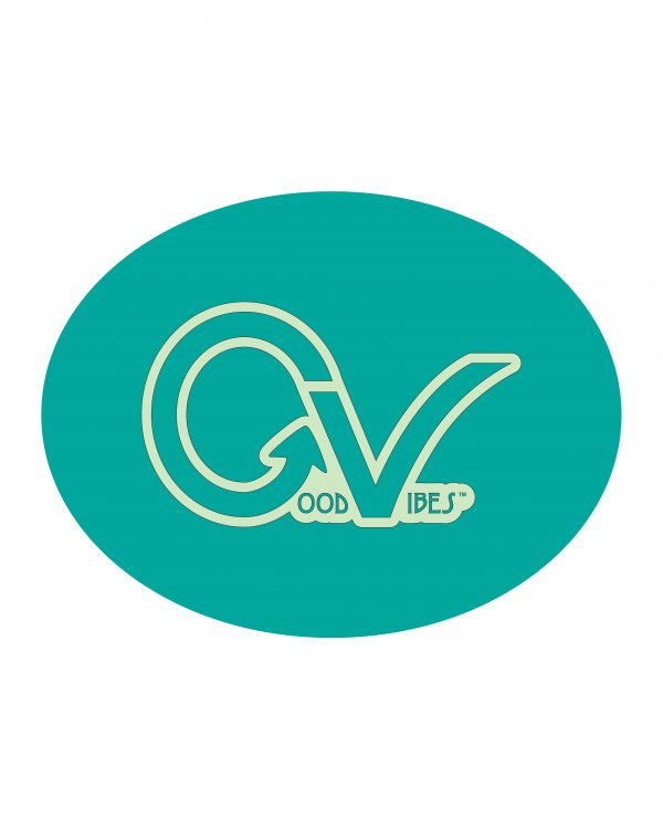 "Good Vibes Teal Lt Green Sticker for Indoor or Outdoor Use 4"" x 3"""