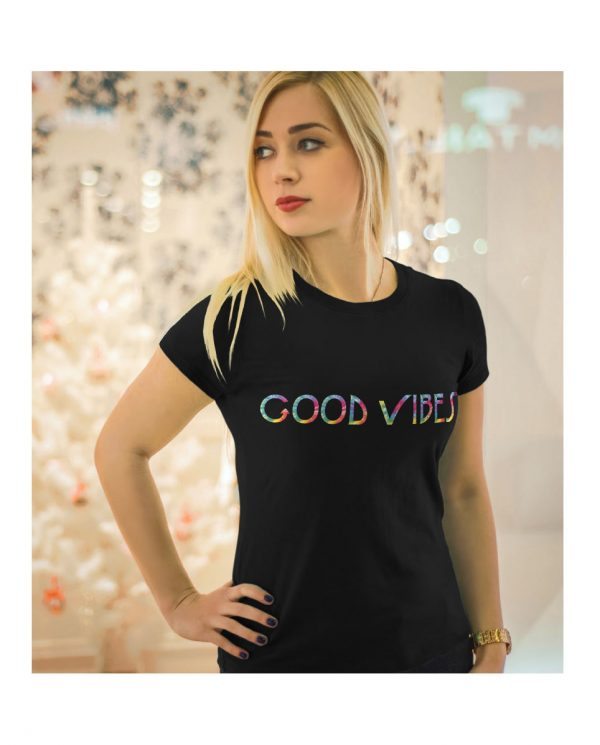 Good Vibes Tie Dye Black T-shirt