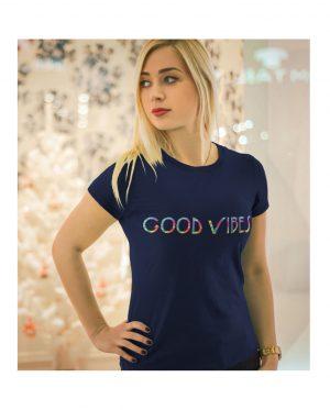 Good Vibes Tie Dye Navy T-shirt
