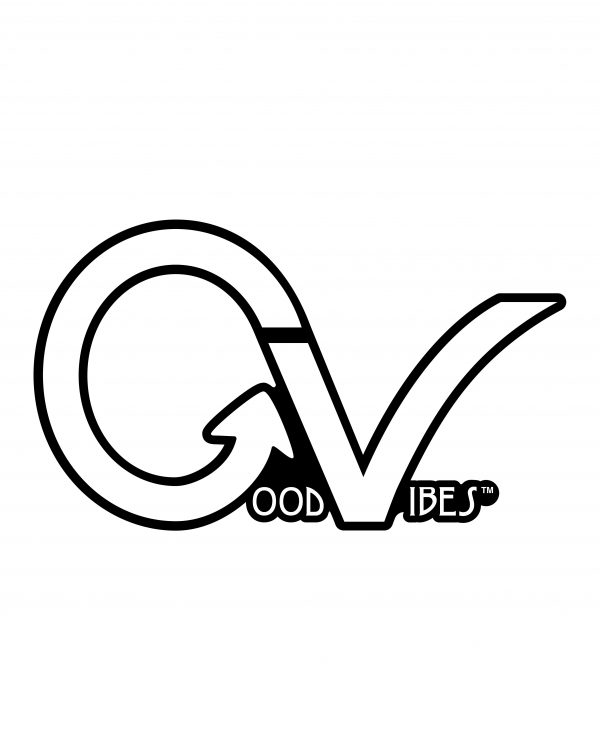 "Good Vibes White GV Sticker for Indoor or Outdoor Use 3.45"" x 2"""